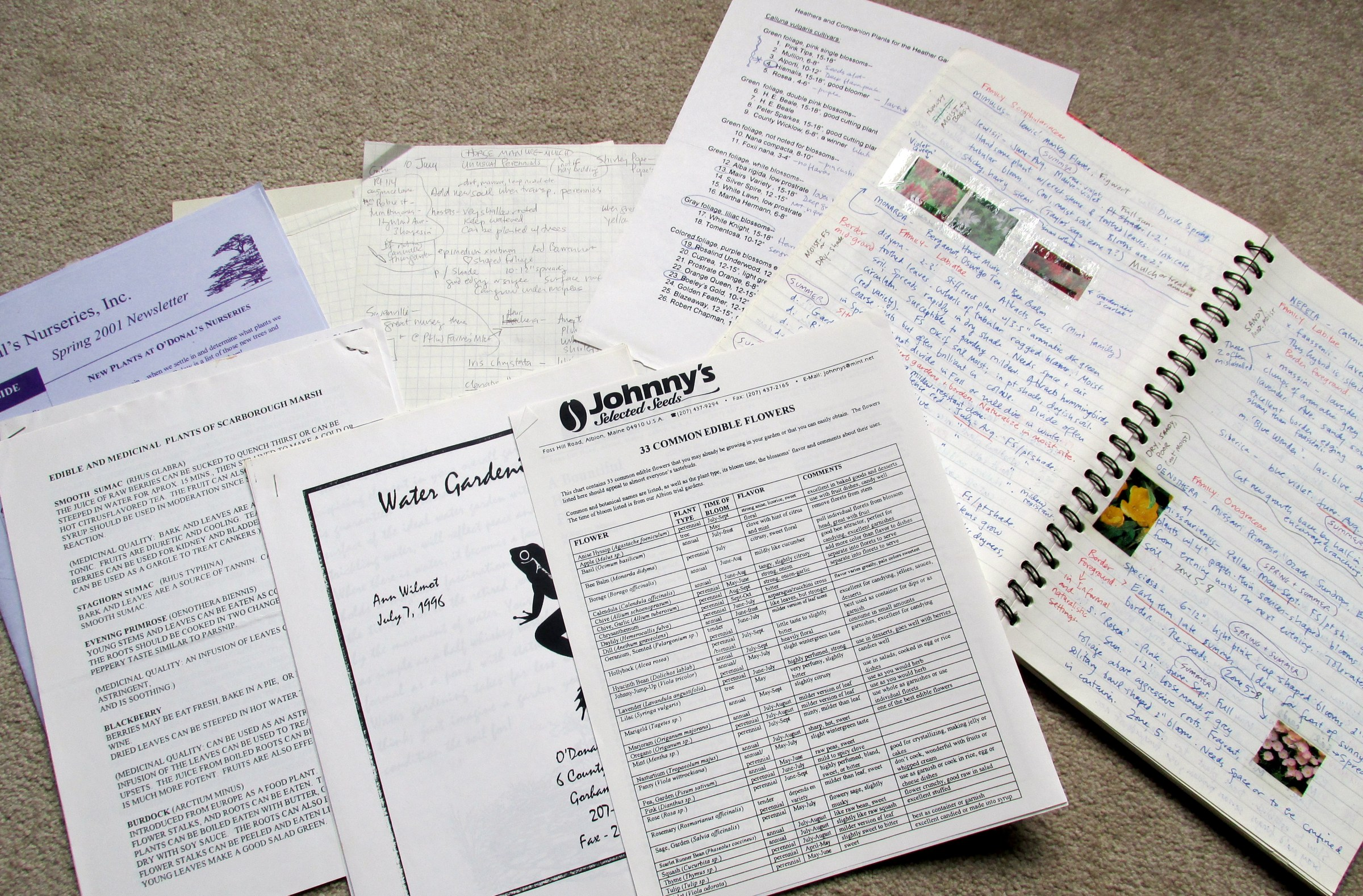 garden book and handouts