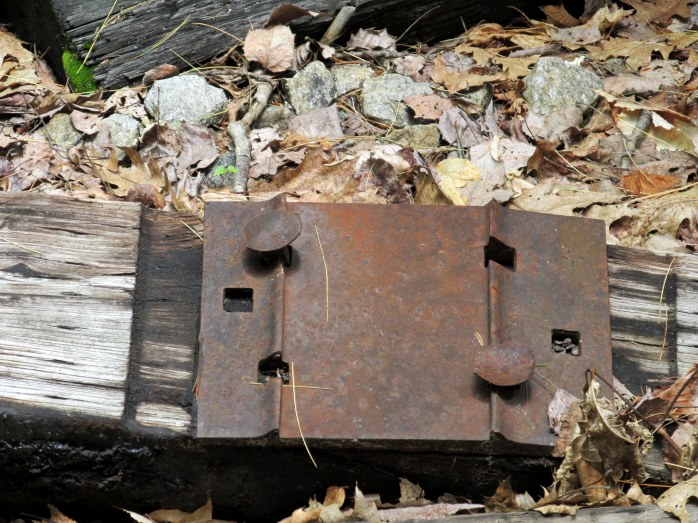 metal plate on railroad tie ... the track would sit on top of it.