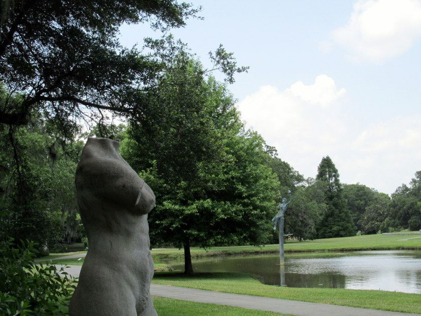 female torso sculpture and view