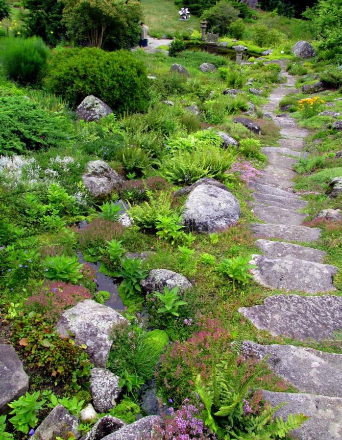 stone pathway down rock garden