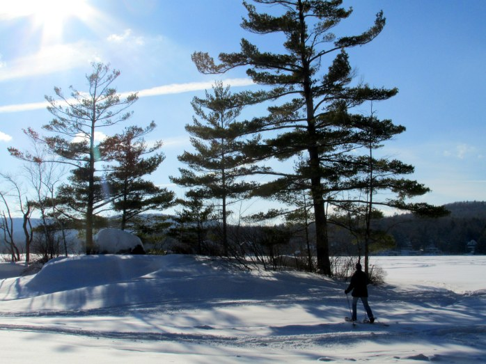 snowshoeing to island in Lake Sunapee, 22 Feb 2015