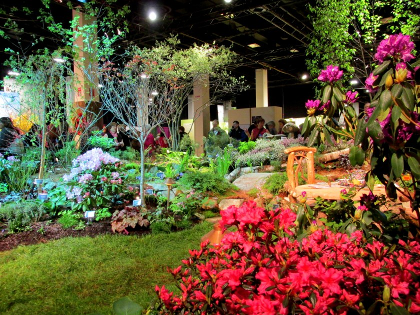 Massachusetts Horticultural Society display: landscape with lawn and tea set