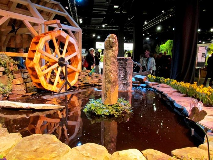 Graystone Masonry: statuary, pond, waterwheel