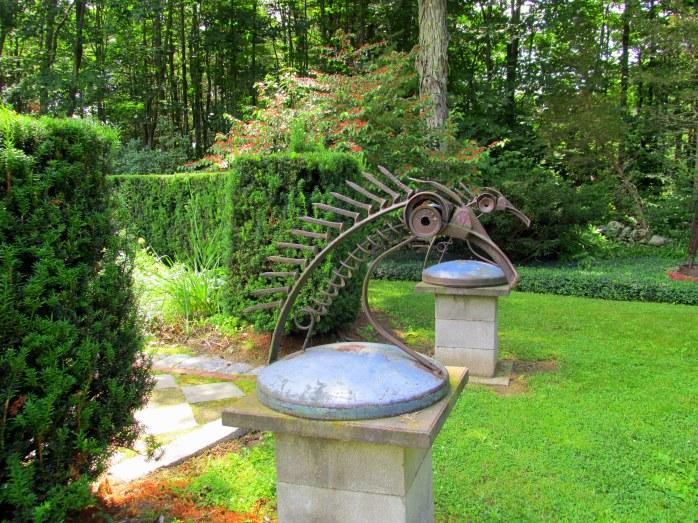 Horse Heads sculpture at entrance to Parterre Garden