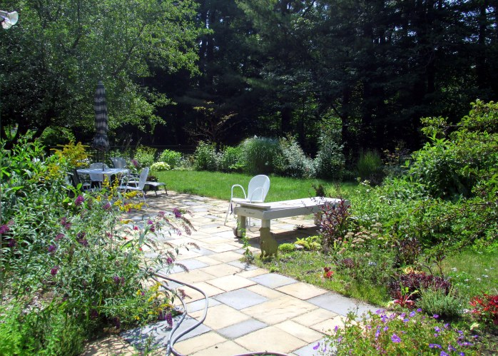 part of patio and backyard