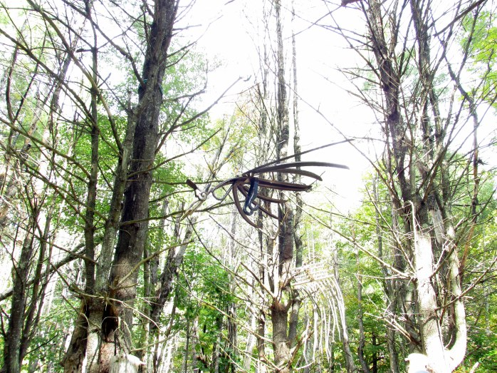 hanging sculpture in Dark Woods