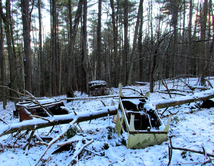 furniture dumped along trail, Otter Creek Trail, Middlebury, Nov. 2013
