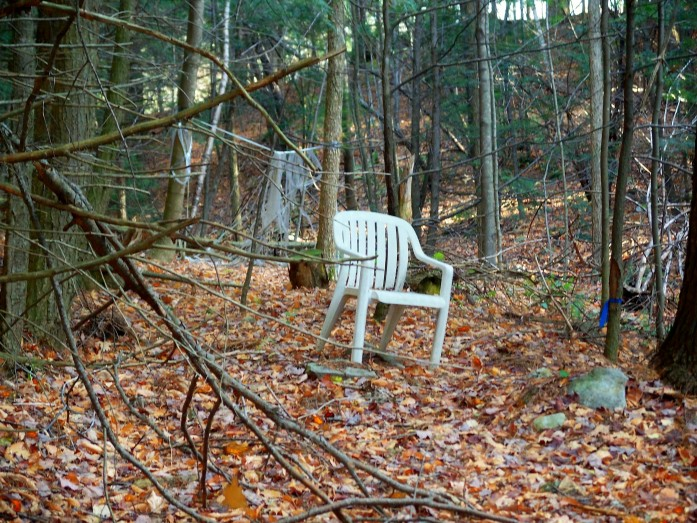 white plastic chair in woods, Manchester, VT, Oct 2010
