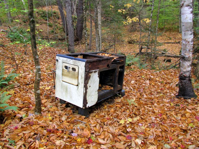 old stove in woods, Quechee, VT, Oct 2015