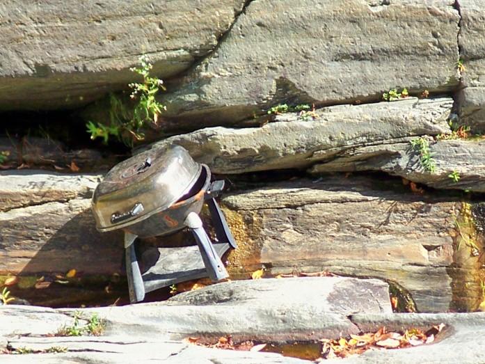 grill's final resting spot, Quechee Dam, VT, Sept. 2010