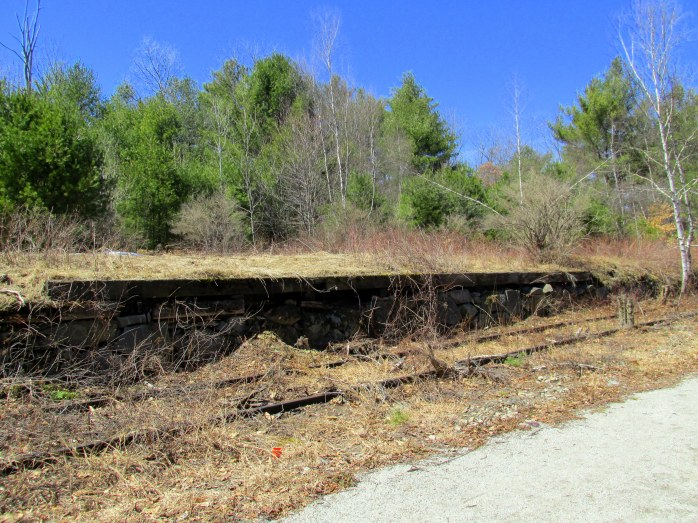 railroad tracks, platform, Northern Rail Trail, April 2015