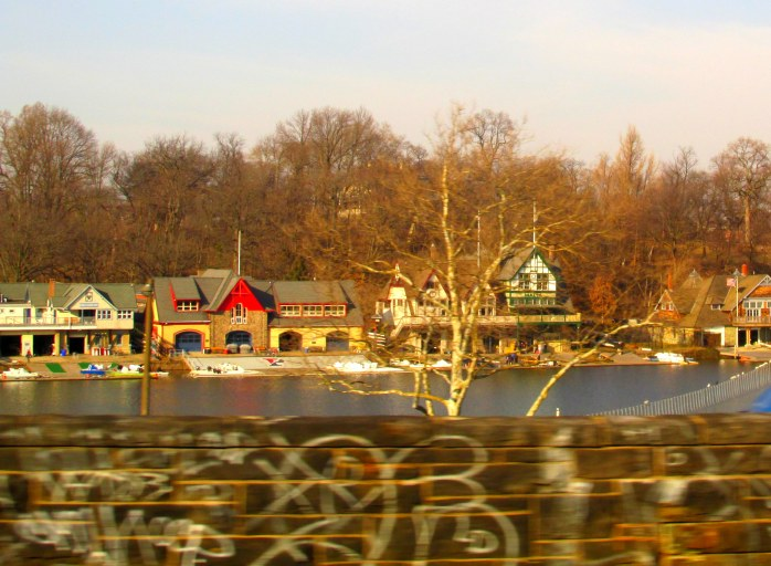 rowing houses and graffiti, north of Philadelphia, PA, March 2014