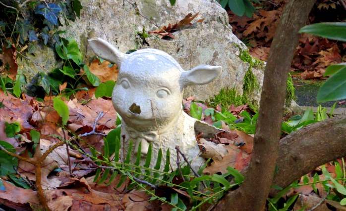 sheep statue, Lourdes shrine, Franciscan Monastery, Kennebunk, ME, Dec 2014