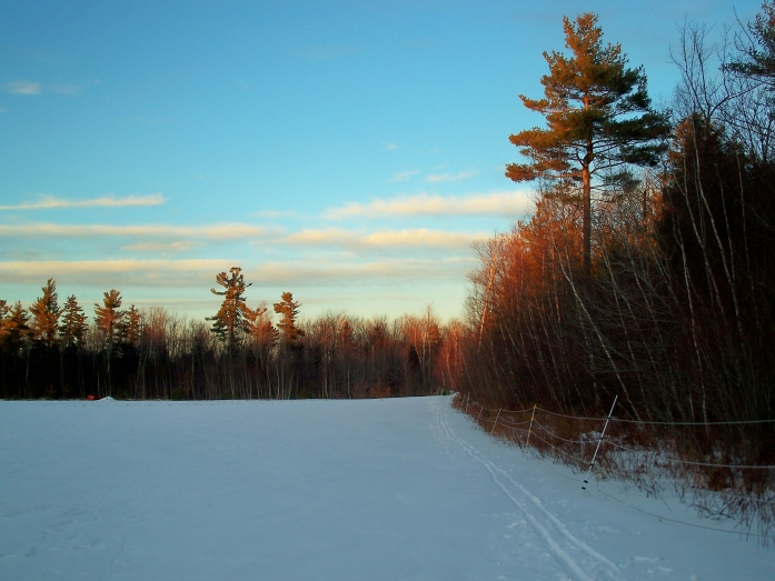 sun setting on snowy field, KCC trail, 5 Jan 2013