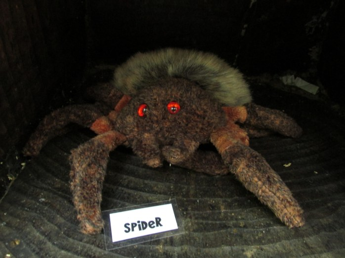 I wondered if a real arachnid would be inside, but it was the stuffed, furry variety.