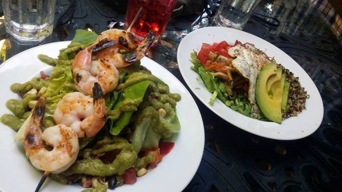 shrimp southwestern salad, avocado quinoa salad, cherry limeade at tea house