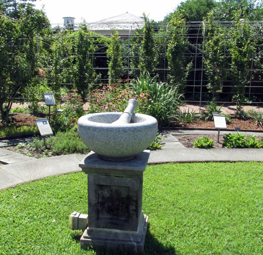 mortar and pestle in Healing Garden