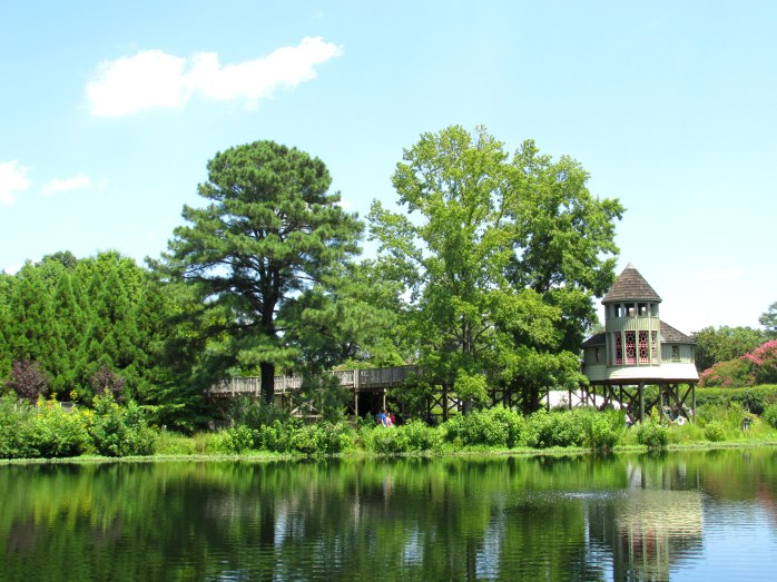 view of tree house, pond
