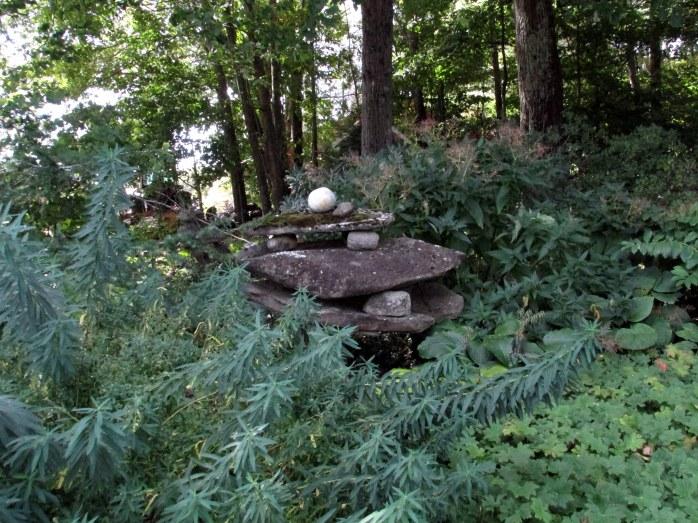 balanced stone cairn in Swaleway