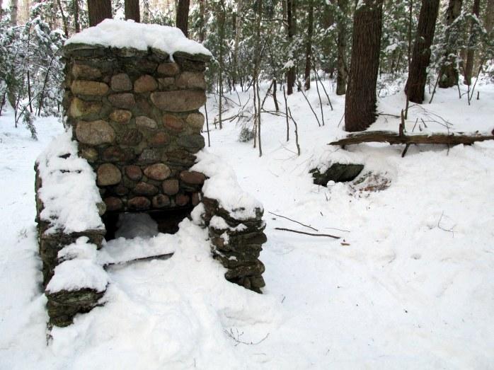 stone chimney, Cocoa's Path, NH, Jan. 2014