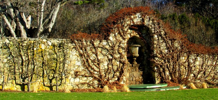 vine-covered stone wall with urn - The Fells, NH, Nov. 2015