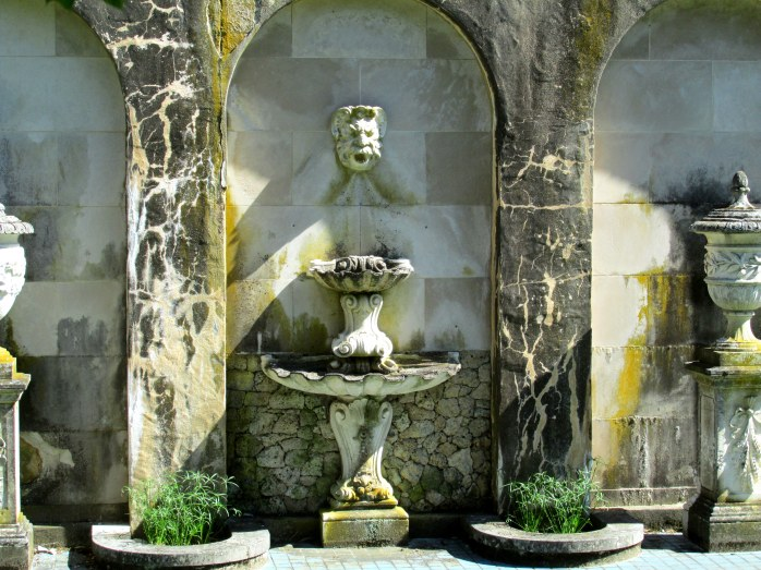 wall with fountain, urns - Longwood Gardens, PA June 2013