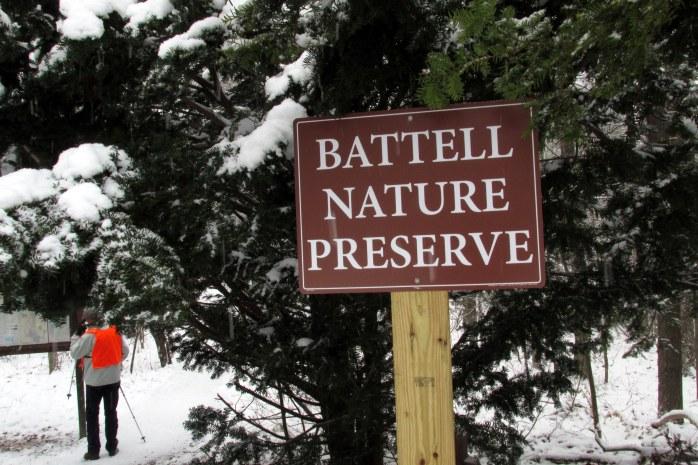 Entering the Battell Naure Preserve