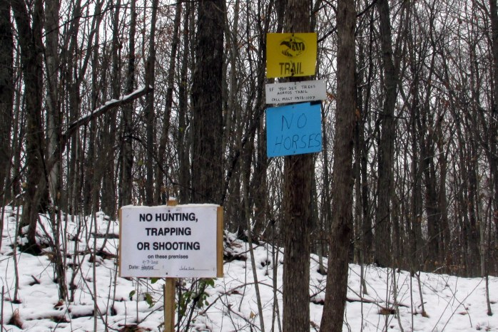 No Horses (the Morgan Horse Museum is close by), and No Hunting, Trapping, or Shooting