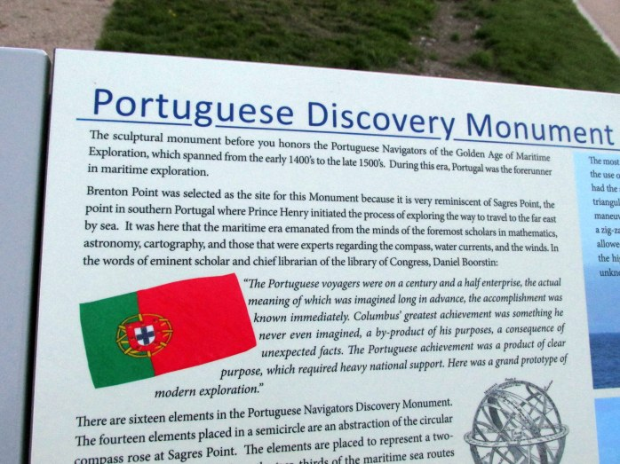 PortugueseDiscoveryMonumentsignSiteOceanDriveNewportRI7May2017