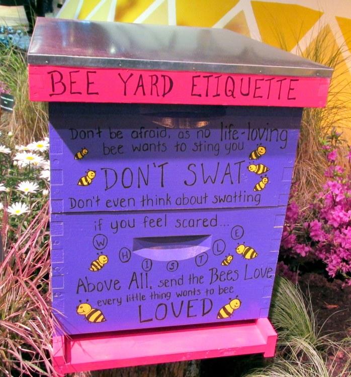 BeeYardEtiquetteDontSwatbeesSamanthasGardensdisplayflowershowBostonMA14March2018